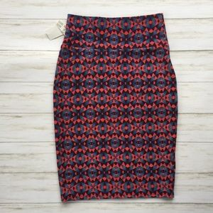 NWT LuLaRoe Red and Blue Cassie Skirt
